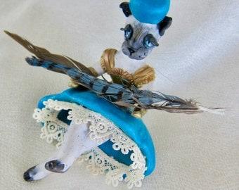 Art Deco Siamese Cat Art Doll OOAK Anthropomorphic Figurine