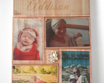 Photo gift mom, photo on wood, wooden photo keepsake, photo collage, mom wall art, picture gift for mom, custom photo on wood