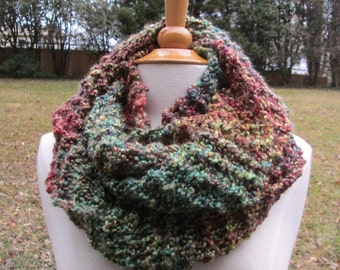 Rich Jewel Tones Variegated Infinity Scarf