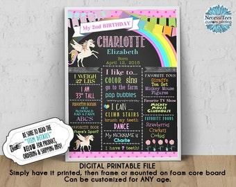 DIGITAL Birthday Poster, 8x10, 11x14, 16x20,18x24, Unicorn, Rainbow, Pastel Colors, Pink, Chalkboard Look, Birthday Sign, JPG
