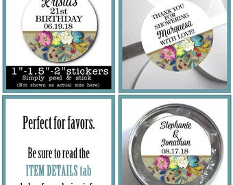 """1"""", 1.5"""" or 2""""  Stickers, Labels, Favor Stickers, Watercolor Florals, Flower Design, Wedding, Bridal Shower, Baby Shower, Birthday"""