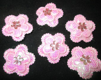 Puffy Sew-On Patches - Flowers or Butterfly - Pink