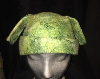 Sage greens, Merino wool wet felted scull cap with ears detail.