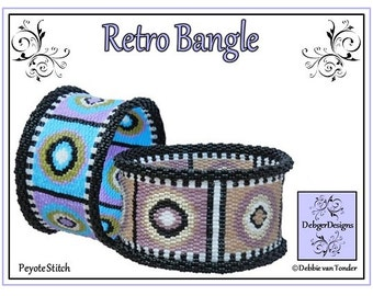 Beading Pattern, Tutorial, (Double Peyote), Bangle - RETRO