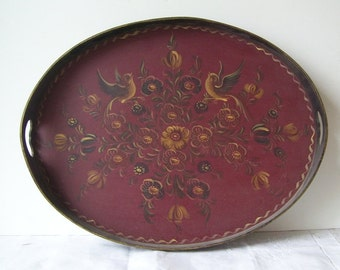 Denmark Scandinavian Rosemaling Hand Painted Oval Serving Tray, Folk Art Tray, Bavarian