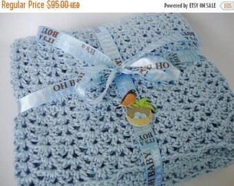 25% OFF Crochet Baby Blanket, Crib Size Blanket, Baby Blanket, Baby Blue Baby Blanket, Baby Gift, Acrylic Baby Blanket, Baby Boy Gift