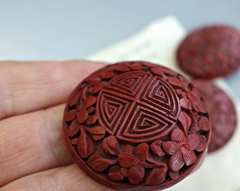 Antique Carved Cinnabar Button China