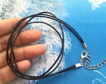 double strands--15pcs 16-18 inch adjustable 1.5mm black genuine leather necklace cords with lobster clasps