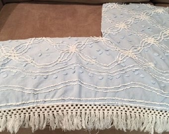 Pastel Blue Vintage Cotton Chenille with White Needle Tufting, Blue Pops and Fringe