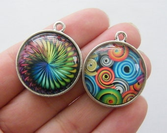 2 Random pattern glass cabochon charms antique silver tone FM11