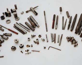 Vintage Machinist Tool Lot-60+ Parts-Punches Bits Spacers-Drill Press Bits