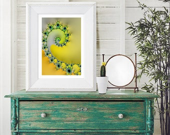 YELLOW SPIRAL Fractal Art Print - wall decor for home or office - oversized prints - yellow spring art, yellow summer art