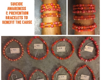 Suicide Awareness & Prevention Orange Glass Bead Bracelets - Proceeds Go To The Overnight Walk - Great Gift