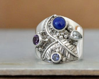 gemstone silver ring, vintage sterling silver ring with amethyst,  blue lapis, blue topaz gemstone ring