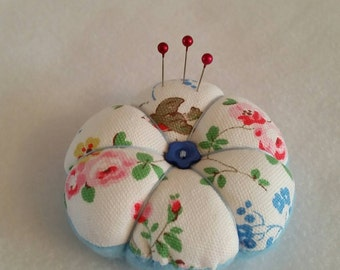 Handmade mini Pin Cushion made from Cath Kidston Stone Birds fabric