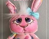 "OOAK Artist Miniature Cloth Pocket EASTER Rag Doll Bunny Rabbit ""Hippity""  5"" high!"