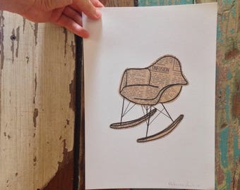 Eames Rocking Chair illustration - mixed media art work featuring vintage newspaper and hand drawn line work