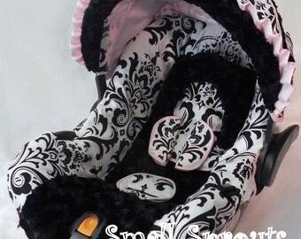 Isabella Large Black and White Damask/Black MInky/Pink Trim Infant Car Seat Cover 5 piece set
