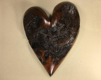 Heart wood wall hanging Love you more Anniversary gift handmade