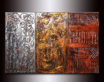 ORIGINAL Modern Rich Texture Metallic Gold Silver Copper Abstract Contemporary Fine Art by Henry Parsinia Large 36x24