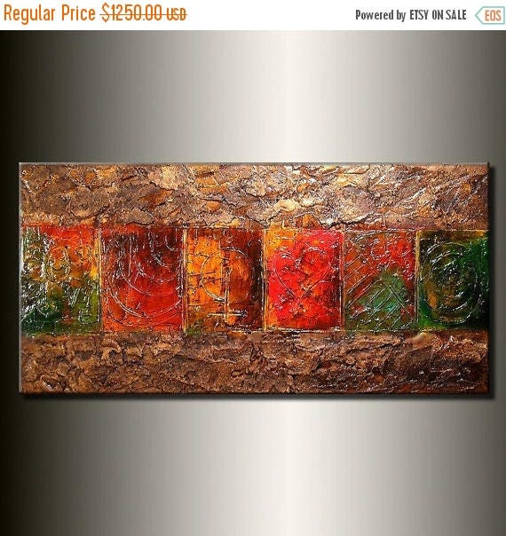 Original Texture Contemporary Palette Knife Modern Abstract Painting Contemporary Fine Art by Henry Parsinia Large 48x24