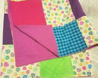 Bright Patchwork Baby Blanket Playmat Rainbow Mushrooms Flannel Backed