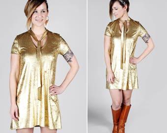 Liquid Gold Velvet Swing Dress – Handmade 70's inspired Keyhole A-line Shift Dress Metallic Short Sleeves Necktie Shine MADE TO Order