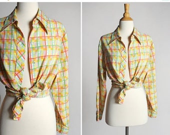 SALE Vintage Vibrant Pastel Buttom Up Blouse- Yellow Green Plaid Top Shirt Long Sleeve Blouse Boyfriend Oxford Summer Country- Size Large