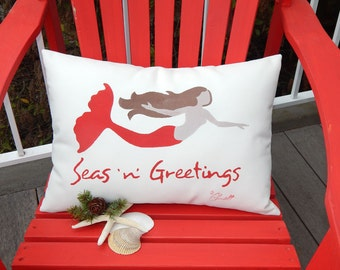 """CHRISTMAS MERMAID PILLOW 12""""x20"""" seas 'n' greetings handpainted outdoor holiday beach house coastal ocean merfolk Crabby Chris Original"""