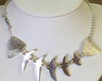 Fish Skeleton Necklace in Sterling Silver
