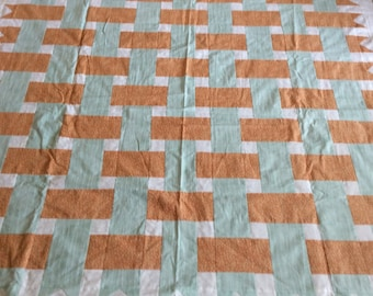 Ribbon Lap Quilt, Teal and Salmon Coloring - TOP ONLY, UNFINISHED,