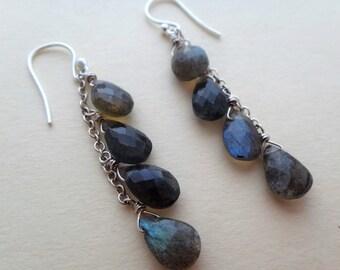 Labradorite dangle earrings, multi labradorite silver earrings, sterling silver wire wrap labradorite earrings, labradorite silver earrings