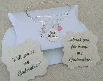 Godmother Bracelet, Godmother Gift, Will You Be My Godmother, Thank You For Godmother, Summer SALE, Silver Plated Adjustable Bangle