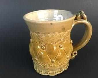 Handmade Amber Celadon Stoneware Mug
