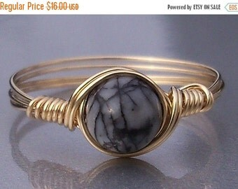 15% OFF SALE Silkstone Custom Sized 14k Yellow Gold Filled Wire Wrapped Ring