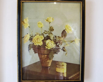 Yellow Roses Print Framed 1930s Constance Spry