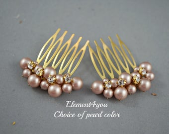 Ivory pearl comb. Gold hair comb. Set of 2 small combs, Bridal hair accessories. Light champagne pearls Bridesmaid hair comb Wedding hair do