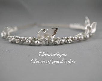 Wedding head piece, Bridal hair band, Wedding headband, Calla lily hair accessories, Ivory pearls headband, Silver beaded rhinestone hair