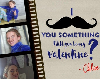 I Mustache You · Valentines Day Photo Card · 3 photo trading mini cards for school & family