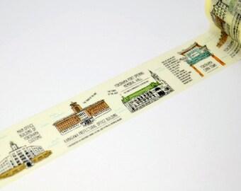 "Limited Edition mt Japanese Washi Masking Tape - mt ex in Yokohama  ""Buildings in Yokohama"" 25mm for packaging, tag making, scrapbooking"