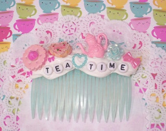 Tea Time Hair Accessory, Tea Hair Clip, Decoden Hair Accessory, Mad Hatter Tea Party, Tea Party Hair Accessory, Alice in Wonderland
