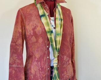 "Autumn Brown Small Denim Shirt JACKET - Orange Brown Dyed Upcycled Jou-Jou Denim Blazer Shirt Jacket - Adult Womens Size Small (36"" chest)"
