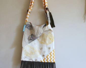 New! cross body bag, hand printed fish,leather,fringe,boho-chic, modern, triangle flap, cream,yellow,brown,vintage fabric