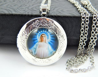 Our Lady of Grace Catholic Locket Necklace - Virgin Mary Miraculous Medal - Religious Jewelry - Catholic Medal Necklace - Locket Charm SL