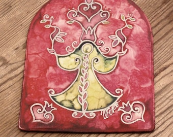 Guardian Angel Art  Silk Ornament hand painted silk image Home decor gift ideas for Mom