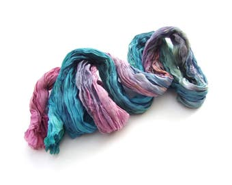 Rainbow ombre boho crinkle long fashion silk scarf Red Blue