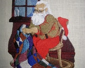 Quilting Santa Embroidered Quilt Block