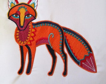 Woodland Fox Embroidered Fabric Block