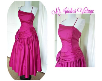 Vintage 80s party prom ball gown Vintage dress, full skirt, ruched waist big bow