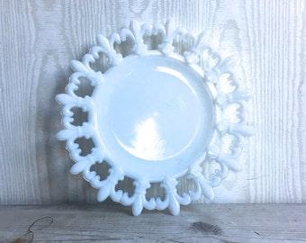 Fleur De Lis Plate Milk Glass